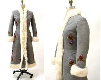 Vintage Embroidered Shearling Afghan Jacket Coat Grey Small// 70s Shearling Coat Embroidered Sheepskin Fur Boho Afghan Jacket Made in Poland