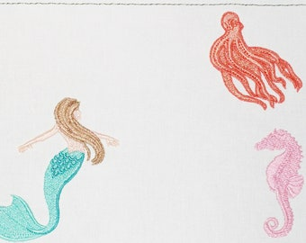 Under the sea creatures Embroidered Quilt Label to customize with your personal message