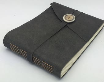 Gray Leather Art Journal / Photo Album, In Stock, 6 x 8 inches