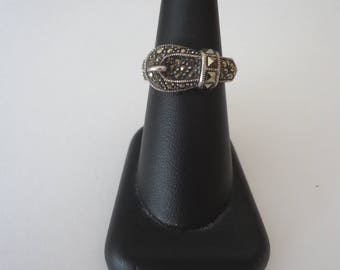 Vintage 925 Sterling Silver and Marcasite Stone Buckle Design Ring, Size 7 3/4, 6 Grams