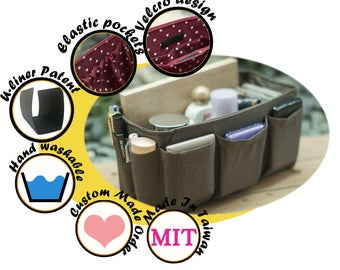 Purse organizer insert multi-pocket for handbag Solid Brown Medium 22x8cm