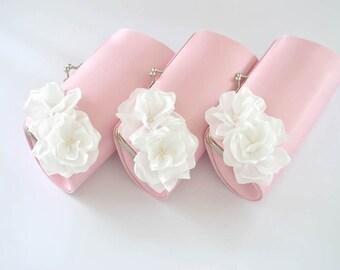 PINK and OFF WHITE - Wedding clutch - Custom clutch - Bridal_Bridesmaid_Prom