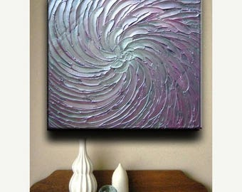 SALE Original Abstract Heavy Texture Floral Carved Oil Whites Pink Purple Silvers Metallics Painting by Je Hlobik