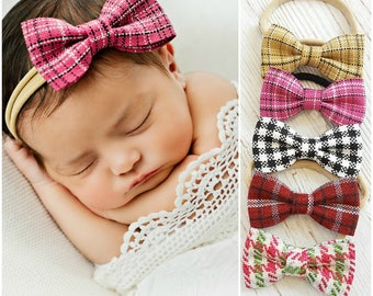Nylon baby headbands, Baby Headband, Small Bows, Baby girl headbands, Newborn headbands,Baby hair bows, infant headbands,