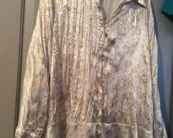 Nights in White satin blouse 1X crinkled gold metallic/silky soft/flirty Peplum/polyester/long slv