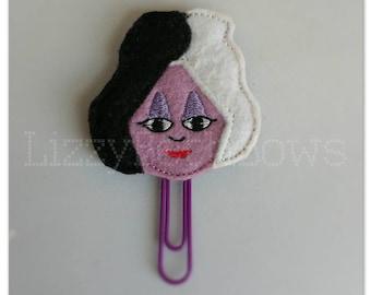 Planner clip, bookmark, planner feltie clip, felt bookmark, cruel devil woman feltie clip, Cruella devil inspired clip