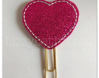 Planner clip, bookmark, planner feltie clip, felt bookmark, sparkly heart feltie clip,  hot pink heart, glitter heart clip, love clip