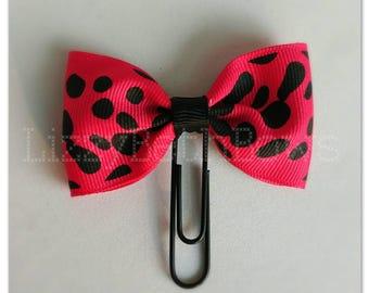 Animal Print clip, bookmark, planner bow clip, bow bookmark, black pink cheetah leopard safari