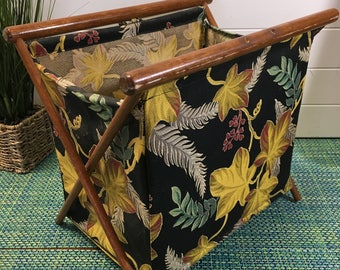 Vintage Polynesian Print Barkcloth Folding Portable Knitting Bag Holder Yarn Caddy with Bamboo Handles- 1940s knitting bag, barkcloth caddy