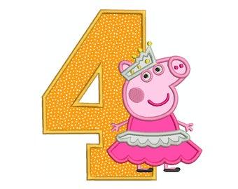 PEPPA Pig Ballerina Number 4 - Machine Applique Embroidery - Instant Digital Download