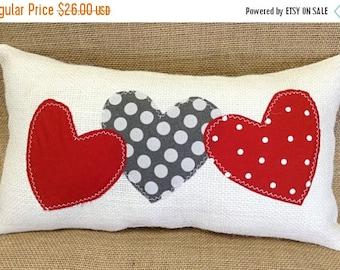Wedding Gift Pillow, Heart Pillow, Engagement Gift, Red Heart Pillow, Burlap Pillow, Home Decor, Wedding Gift, Valentine Pillow