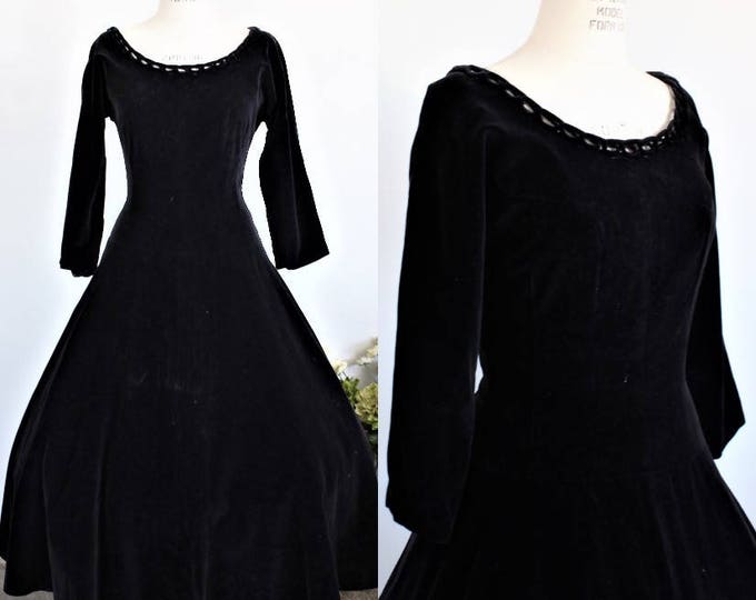 Featured listing image: Vintage 1950s Black Velvet Dress / 50s New Look Party Dress / Fit and Flare / Circle Skirt / Gothic Clothing / Full Skirt