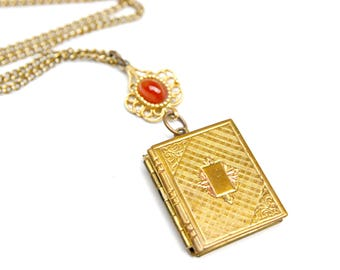Lockets for Women - Vintage Locket- Picture Locket Necklace - Antique Locket - Photo Locket - Gold Locket - Locket Pendant - Book Locket