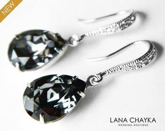 Silver Night Crystal Earrings Charcoal Rhinestone Teardrop Earrings Swarovski Crystal Dangle Wedding Earrings Dark Grey Bridesmaids Jewelry