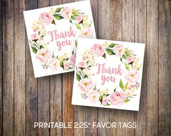 """Pink Floral Favor Tags, 2.25"""" Square Tags, Peony Thank You Tags, Gift Tags, Baptism Favors, Pink, Digital Download, Printable Tags, 713"""
