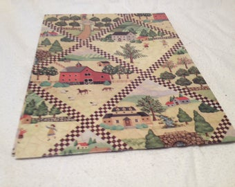 Farm and Country Scean American Greetings 1991 Gift Wrap