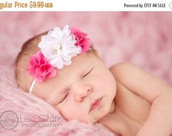 12% off Baby headband, newborn headband, adult headband, child headband and photography prop The triple sprinkled dainty flowers headband