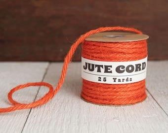 Macrame Cord - 5 Ply Jute Rope, Pumpkin Orange, 25 Yards