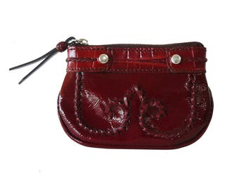 Brighton Red Croc Patent Leather Whip Stitched Zip Top Coin Change Purse
