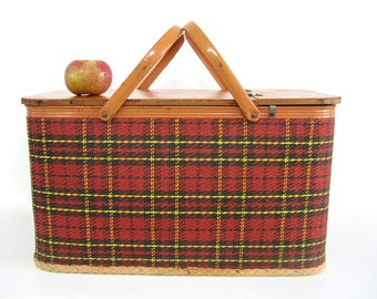 Vintage Red Plaid Redmon Picnic Basket, Farmers Market, Large Storage, Food Storage, Camping Festival  Mid Century Tartan Red Plaid