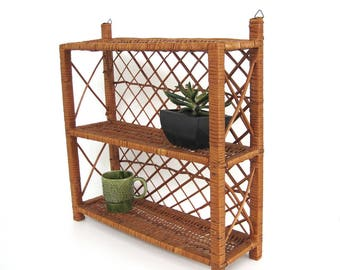 Vintage Wicker Wall Shelf Three Tier Shelving Counter Bathroom Shelves Office Desk Storage Free Standing Shelf