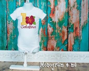 Hawaiian Luau Birthday Bodysuit - 1st Birthday Party -  Pool Party - Hibiscus Flower Shirt - Tropical -