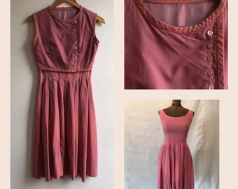 1950s Dusty Rose Gingham Dirndl Dress w Vest