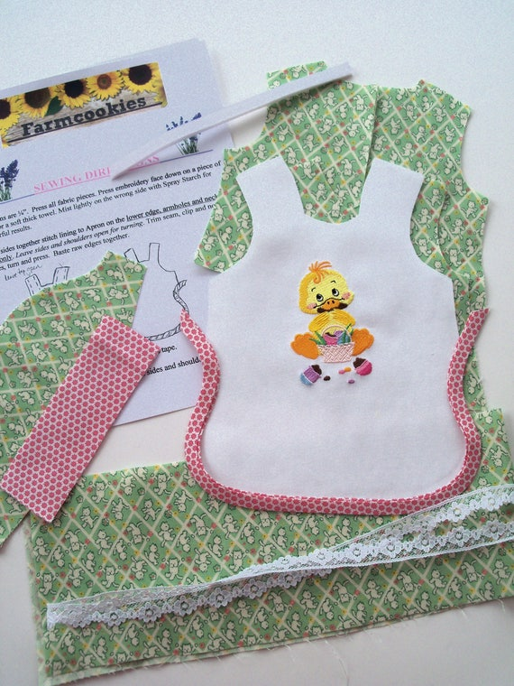"""18"""" Size /COMPLETE SEWING KIT for Embroidered  Easter Dress / Fits Like American Girl Doll Clothes Pattern / Make 18"""" Doll Clothes"""