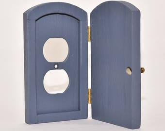 Outlet cover wood door troll or fairy door #pri01