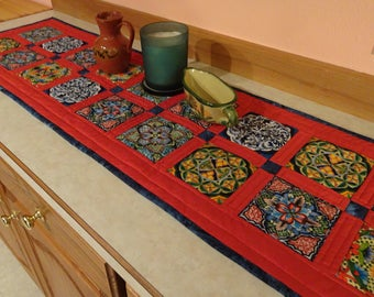 Mexican Tile Fabric  Quilted  Patchwork  Table Runner