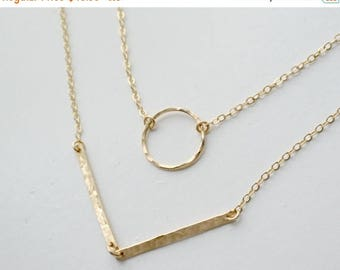 SALE - Gold Double Strand Circle and Chevron Necklace/ Gold or Silver Layering Necklace/ Chervron Necklace/ Hammered Bars / Circle Necklace