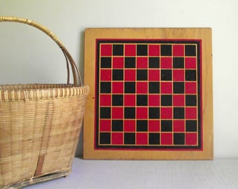Checkerboard Game Board , Wooden Checkerboard , Vintage Game Board , Chess Board , Games Room Decor