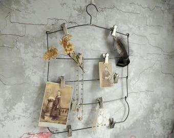 Vintage Metal Hanger , Tiered Clothes Hanger , Multi Clip Skirt Hanger , Repurposed Clip Board , Industrial Memo Board , Vintage Decor