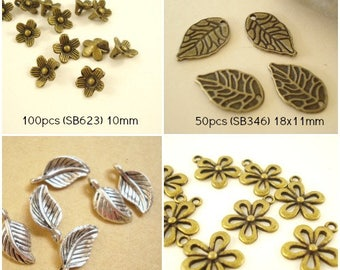 Mix Flower/Leaf Charm Pendant Finding w 4 Pattern Antiqued Bronze/ Silver C-293