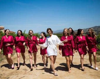 Bridesmaid robes Red Burgundy wedding robe cheap bridesmaid silk robe dressing gown personalized robes kimono robes floral robe bridal robes