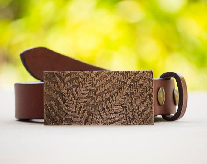 "Fern 1.5"" Bronze Belt Buckle and Top Grain Leather Strap"