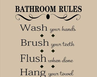 20% OFF Bathroom Rules - Vinyl Lettering wall words graphics  decals  Art Home decor itswritteninvinyl