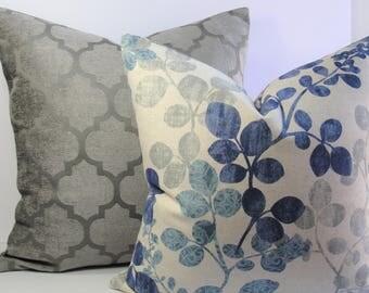 Decorative cotton linen floral throw pillow navy gray aqua medium weight - Designer leaf pattern  euro sham lumbar square Both sides