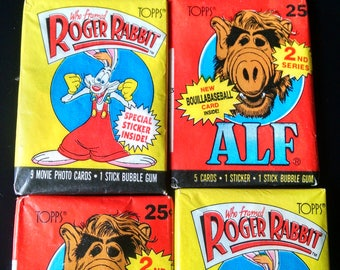 set of four pkg topps cards, alf and who framed roger rabbit 1987