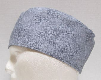 Surgical Cap, Scrub Hat or Skull Cap Grey Swirls