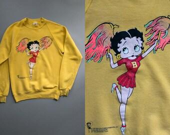 Vintage Betty Boop A Doop Cheerleader Sweater, Circa 1994 Neon Radical Sporty Kitsch