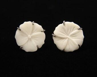 Sterling Silver Carved  White Flower Plumeria Earrings