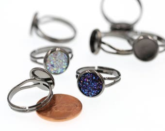 10PCS of 10mm Gunmetal Black Brass Ring Blanks, Ring Tray, Fully Adjustable Ring Blanks