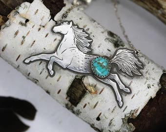 Wild Horse Necklace. Natural Turquoise Necklace. Horse Totem. #8 Turquoise Jewelry. Spirit Animal Jewelry. Horse Jewelry.