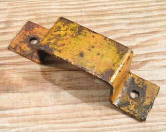 Vintage Steel Door Lock Plate - Industrial Handle