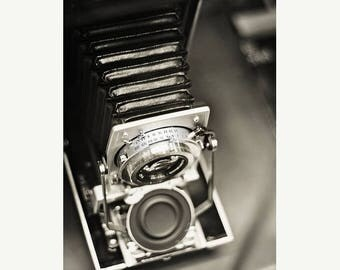 Camera Art: Polaroid vintage camera Fine Art Photography Black and White photography Vintage camera print Still life photography Office art