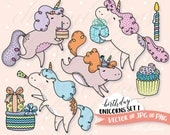Birthday Clipart Set, Unicorn Vector Clip Art, Kawaii Graphics Instant Download, Commercial Use, Pastel Rainbow, Party Invitations, Cute