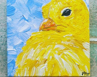 "Baby chick 3""x3"" mini canvas magnet"