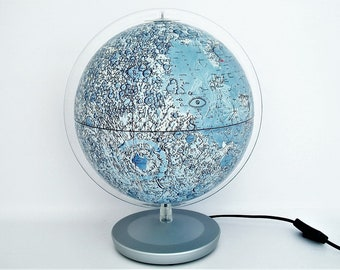 "Vintage Illuminated 10"" Moon Globe Made In Germany"