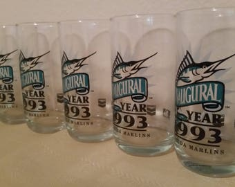 Matching Set of 6 1993 Florida Marlins Baseball Drinking Glasses Water Beer Tumbler Glass First Year Inaugural Season Chevron Gas Promotion
